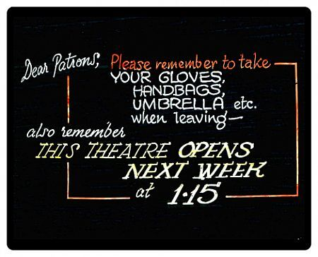 ANNOUNCEMENT SLIDE SHOWN ON CINEMA SCREENS DURING THE INTERVAL BETWEEN THE FILMS 1940s/1950s