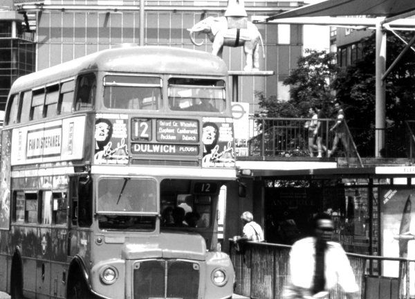 NUMBER 12 ROUTEMASTER BUS AT THE ELEPHANT AND CASTLE, LONDON