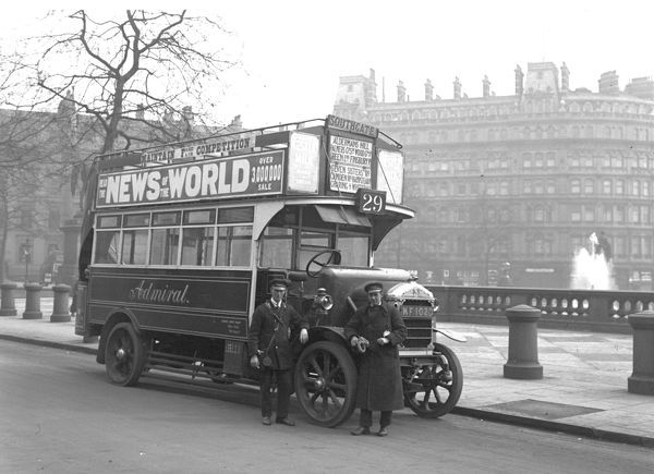 Bus. A Straker Squire solid tyred london bus Route 29 in Trafalgar Square